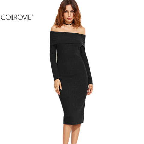Off The Shoulder Pencil Dress Office Ladies Solid Dress Plain Slim Work