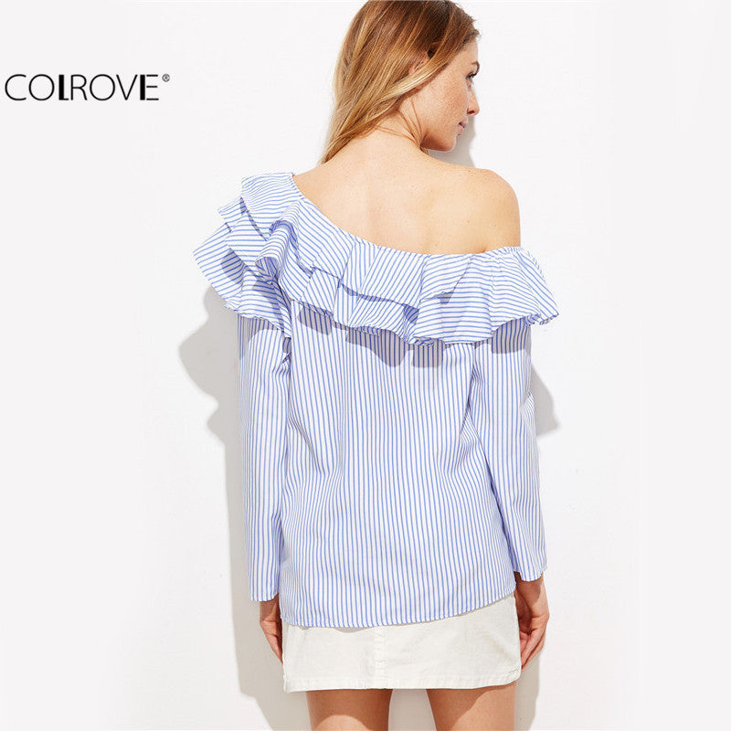 Blouse Blue Vertical Striped One Shoulder Ruffle Trim Top Blouse