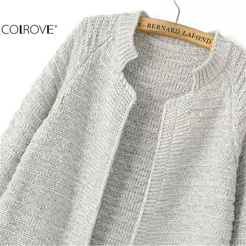 Knitting Outwears Fashion Plain Stand Collar Pockets Knit Cardigan