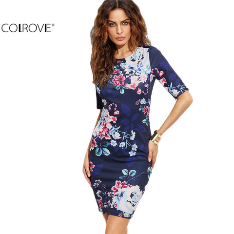 Sleeve O Neck Sheath Mini Dress Office Ladies Work Wear Bodycon Short