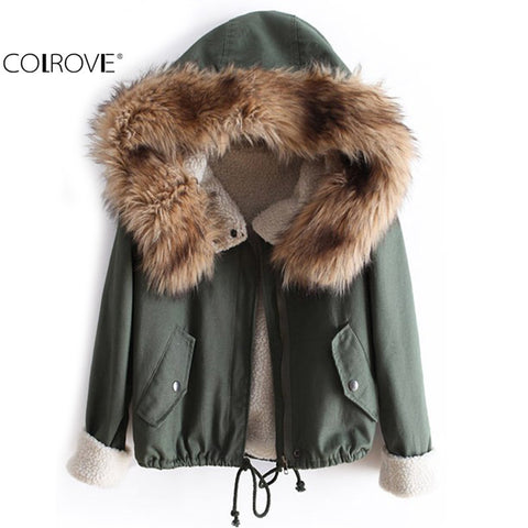 Faux Fur Green Long Sleeve High Street Women Casual Hooded Drawstring