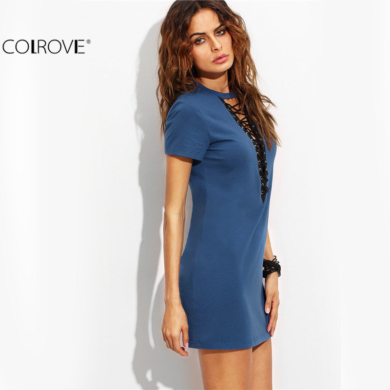 Blue Lace Up Front Short Sleeve Sheath Sexy Style Short Dress Ladies O