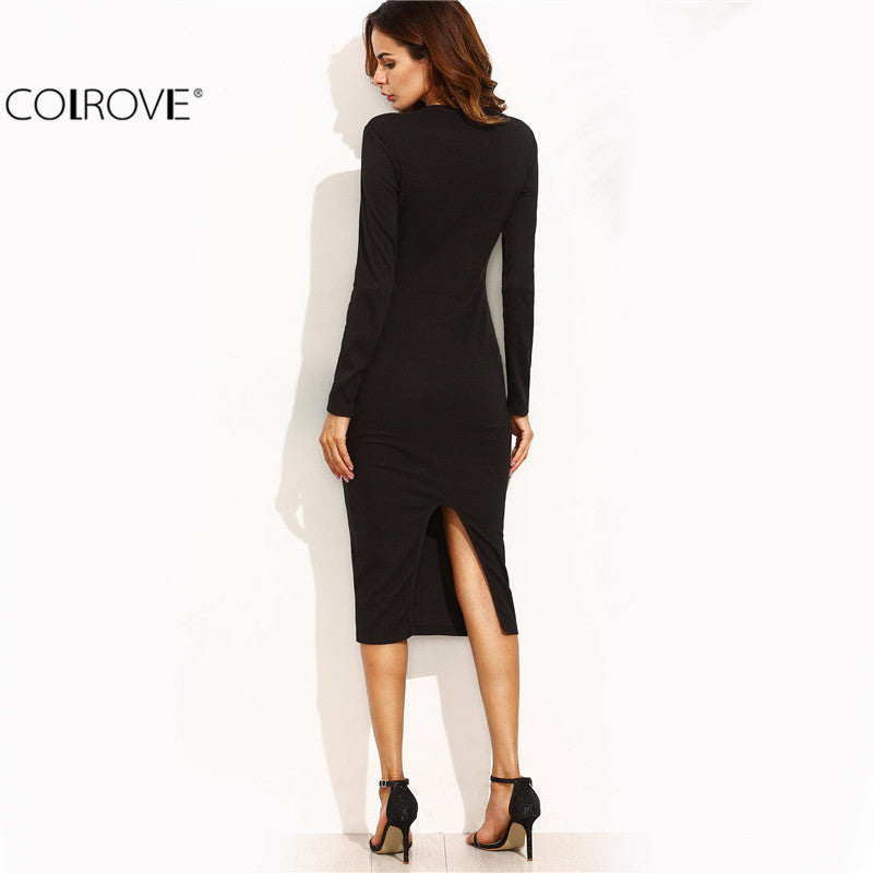 Bodycon Dresses Split Back Long Sleeve Round Neck Sexy Sheath Dress