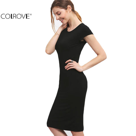 Fitness Black Crew Neck Short Sleeve Sheath Slim Knee Length Dress