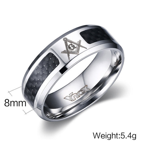 Men Rings Stainless Steel Masonic Rings Wholesale Punk Carbon Fiber