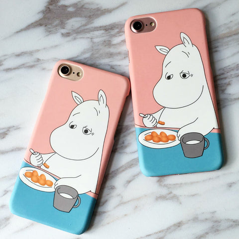 iphone 7 Case Lovely hippopotamus Moomin Back Cover Hard PC Phone
