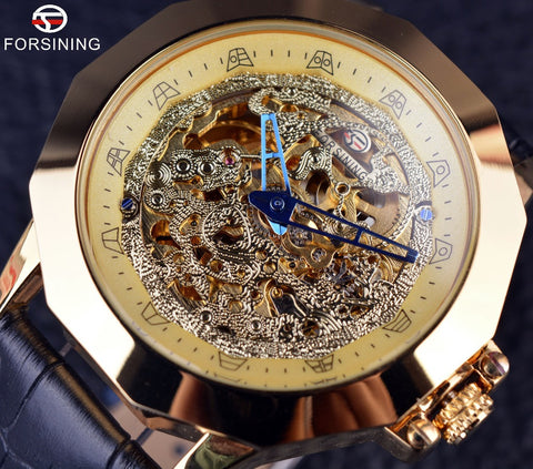 Dragon Irregular Case Design Clock Gold Watch Men
