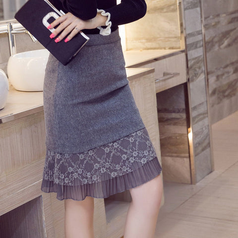 Slim Pencil Skirt Lace Patchwork Women Skirts Plus Size Womens Clothing