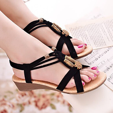 Sandals Beading Low Heels PU Leather