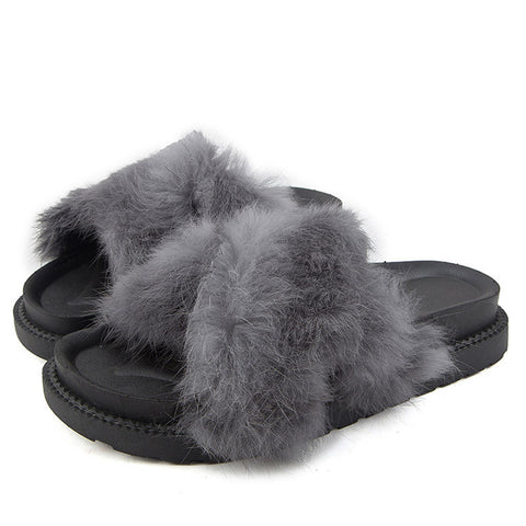 Winter Fur Sandals Platform Slippers