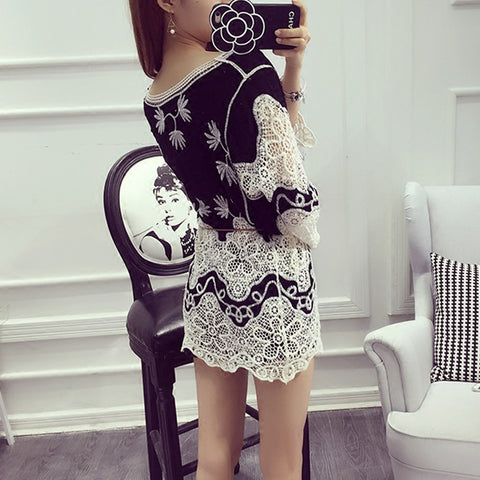 Vintage Embroidered Patchwork Hollow Out Crochet Lace Blusa