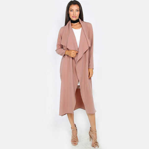 Long Sleeve Trench Coat Ladies Open Front Tie Waist Casual Long
