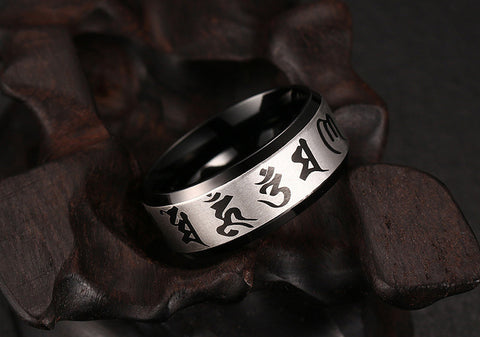 Rings For Men Jewelry Stainless Steel Ring Traditional Om Mani Padme