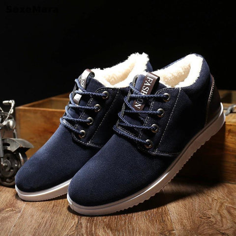 Men's Casual Shoes Boots Plus Velvet Warm Shoes Help Low Suede Shoes