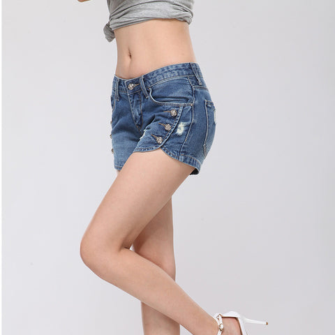 jeans Leg opening button design jeans shorts