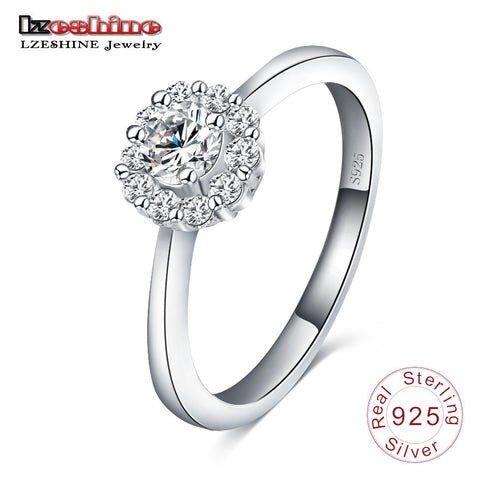 100% 925 Sterling Silver Sparkling Flower Ring Micro Pave CZ