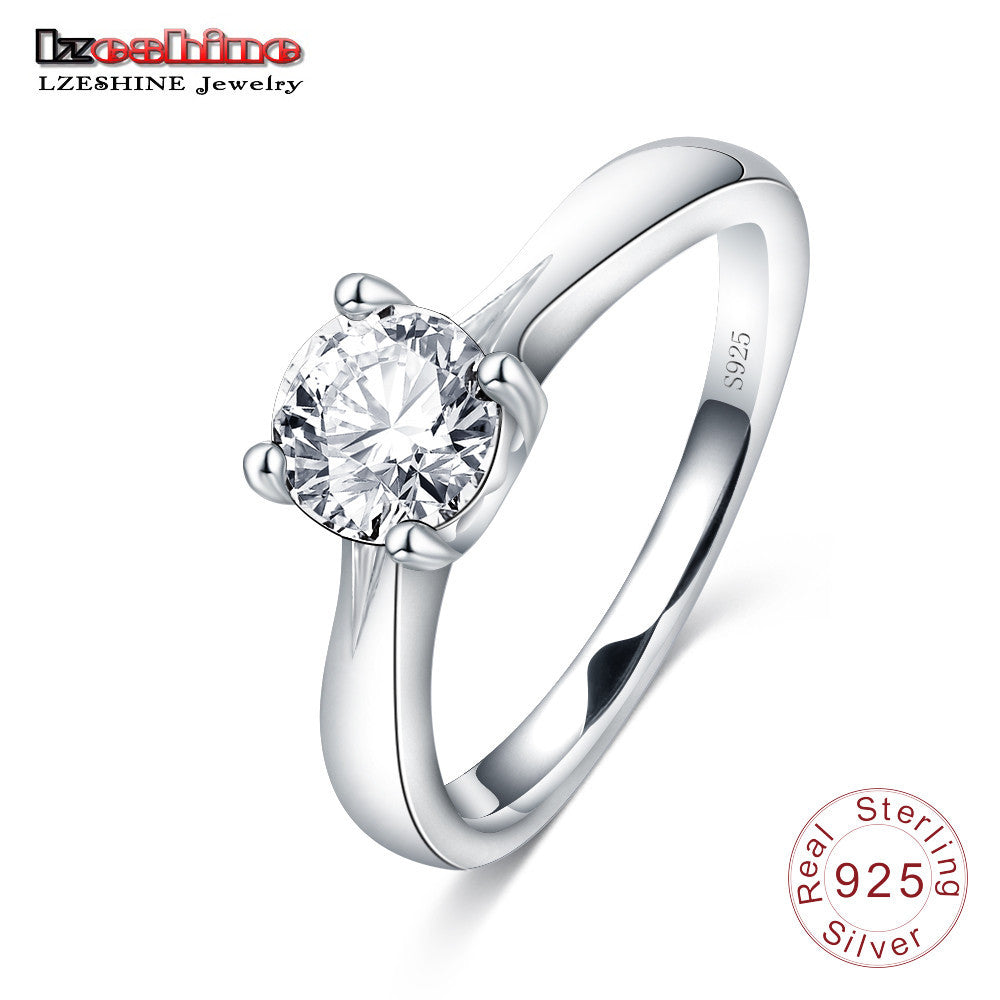 100% 925 Sterling Silver Simple Ring with Cubic Zirconia Diamond ...