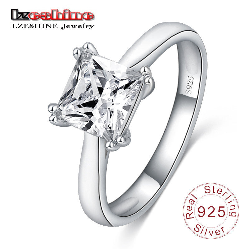 100% 925 Sterling Silver Square Shape Created  Diamond Jewelry