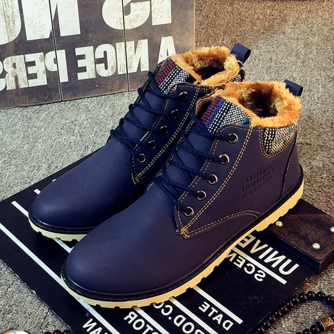 Leather Blue Army Boots Fashion Waterproof Ankle Boots Plush Rubber