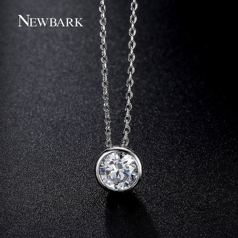 Simple Round 1 Carat Cubic Zirconia Solitaire Pendant Necklace Bezel-Set Wedding Platinum Plated