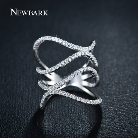 Trendy Double Waves Ring White Gold Plated With Micro Zirconia Paved Anillos