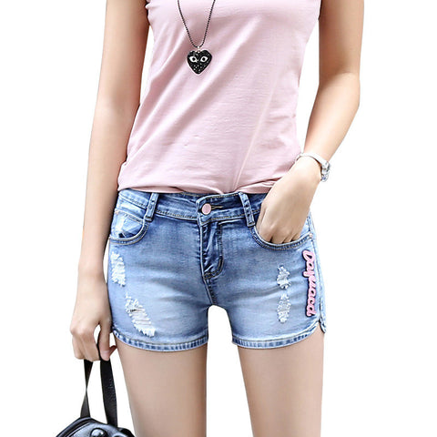 mid waist stretch denim shorts Falbala slim fit short jeans hole Plus