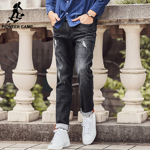 Jeans top quality Straight Ripped Jeans Denim Jeans Men Fashion