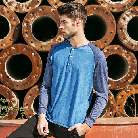T Shirt Long Sleeve Autumn O-Neck Elastic swear Tshirts Male Soft T-Shirt