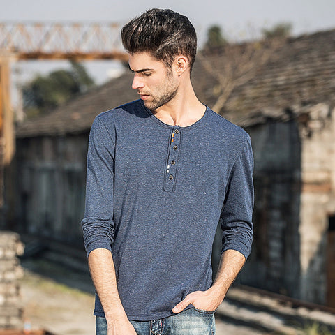 new fashion mens t shirt casual long slim fit men clothing solid cotton t-shirt