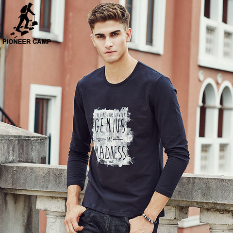 T Shirt Long Sleeve T-Shirt Men 2016  Dark Blue T-Shirt Men Cotton Print