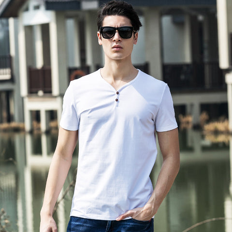 Clothing Cotton Fitness T Shirt Men Camiseta V-Neck Breathable Men Tshirt