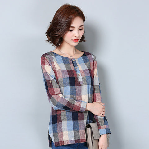 Plaid Shirt Women Cotton Linen Blouse