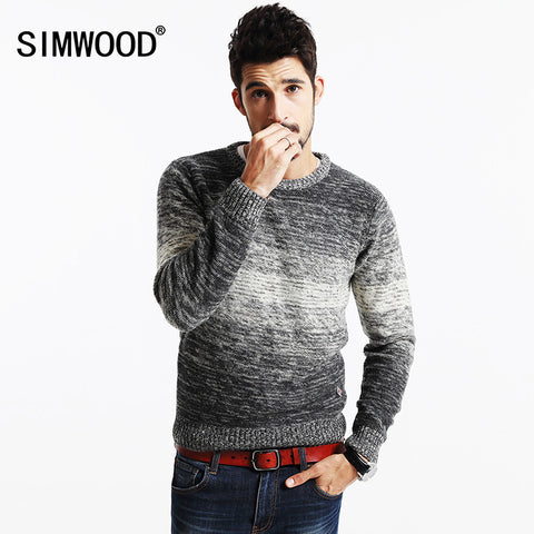 Winter Striped Sweater  Men   Vintage  Wool Pullovers O neck Slim fit