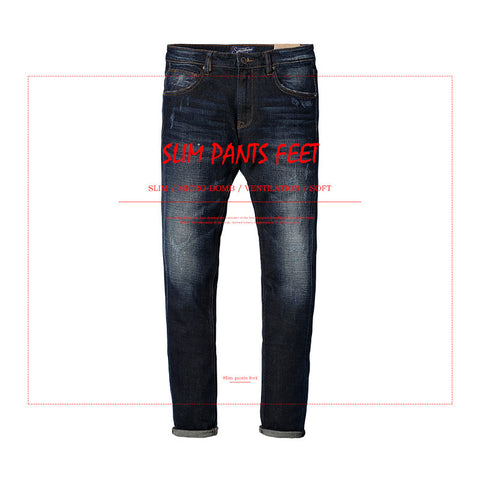 autumn and winter  men's jeans  cotton slim  free shipping male casual