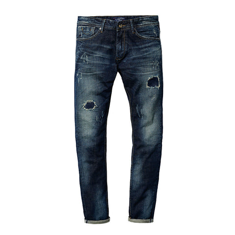 Destroyed Hole Jeans Straight Men's Jeans Denim Harem Jeans