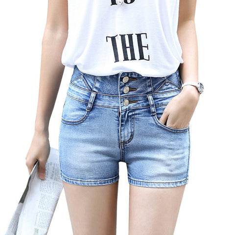 shorts Three buttons slim short jeans Pocket decorate Plus size