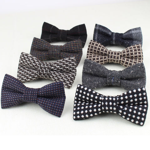 Wool Bow Tie Gravata Colors Houndstooth Pattern Necktie Mens Luxury Tie