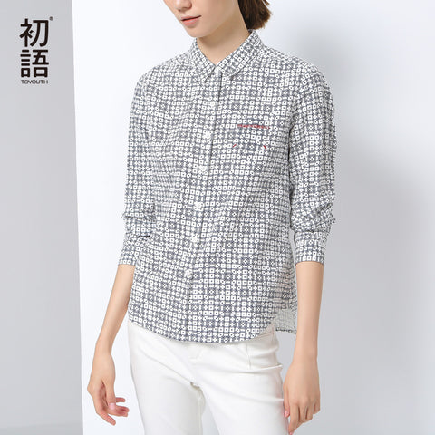 Shirts New Print Turn-Down Collar Blouses Female Fashion Tops