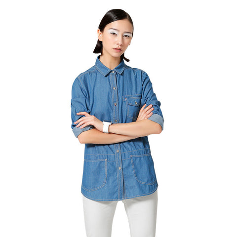 Sleeve Turn Down Collar Pockets Casual Solid Pure Cotton Women Tops