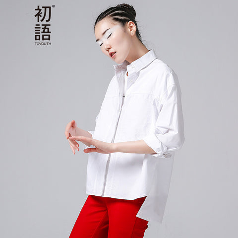 Solid Blouses Shirts Autumn Fashion Button Turn Down Collar Shirts