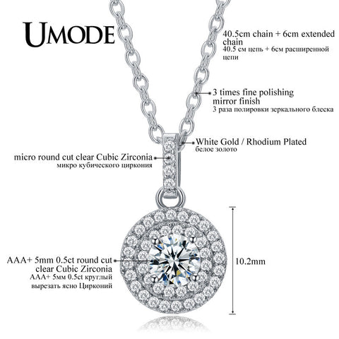 New Fine Craft Halo 0.5ct Simulated Diamond Platinum Plated Pendant Necklaces Jewelry