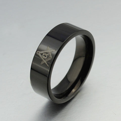 6MM Men's Black Masonic Ring New Fashion Stainless Steel