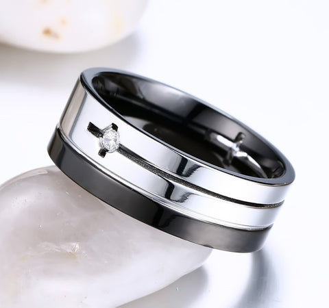 8MM Wedding Bands Ring Men Jewelry New Punk Stainless Steel Rings