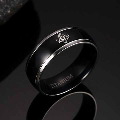 Titanium Carbide Ring Freemasonry Masonic Black Men Ring Free Mason