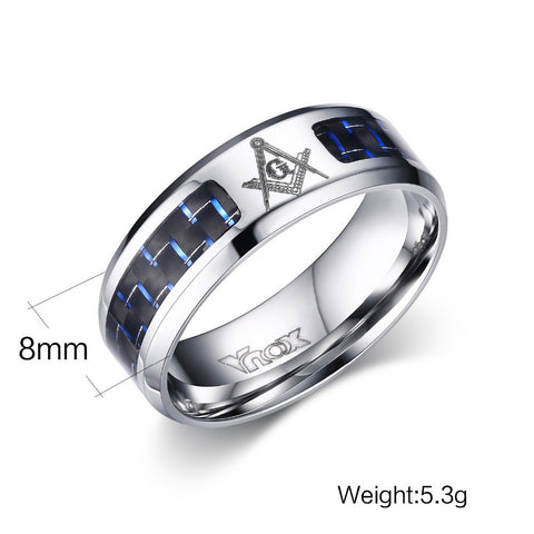Men's Masonic Rings Stainless Steel Wedding Rings For Men Carbon Fiber Jewelry
