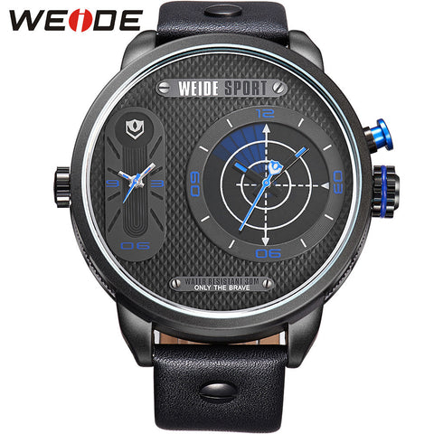 Watch Men Military Brand New Big Dial Analog Quartz Dual Time Zones Display