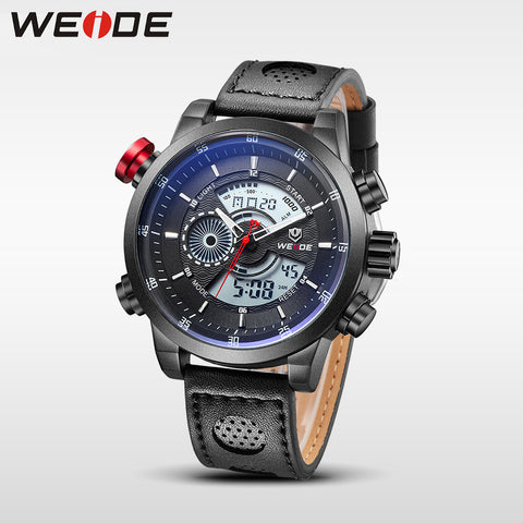 Watches 30m Waterproof Analog Digital Stopwatch Black Leather Strap Quartz-Watch