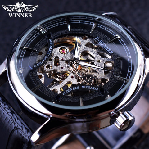 Transparent Case Black Silver Dial Mechanical Watch Male Clock