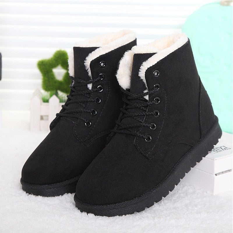 Boots Female Lace Up Fur Ankle Boots Ladies Shoes Botas Femininas