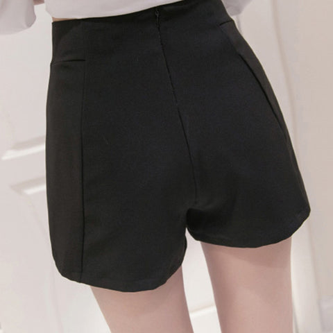 fashion chiffon high waist shorts Black White Plus size XXL